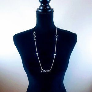 "#J10 Silver 15"" Chain Balls & Loops Necklace"